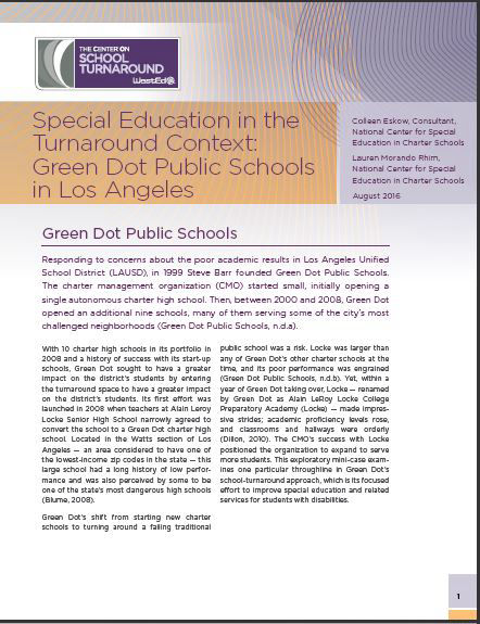 Special Education in the Turnaround Context:  Green Dot Public Schools in LA